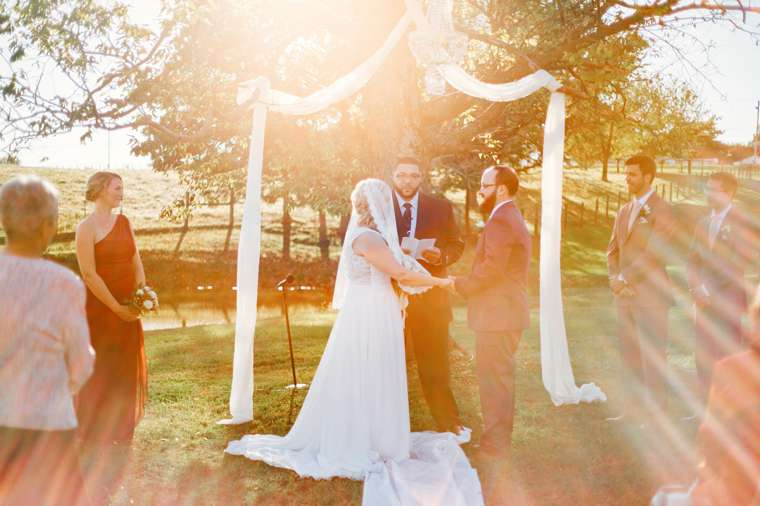 Perfect lighting for fall outdoor ceremony