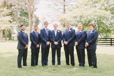 Navy Suit for Groomsmen at Warrenwood Manor, a Kentucky wedding venue