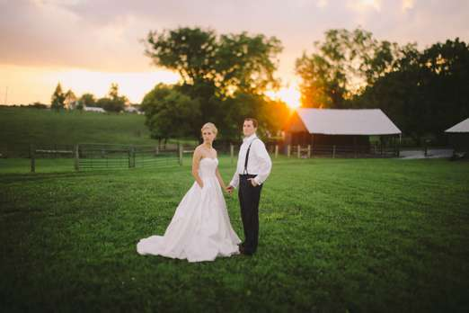 Sunset photos with bride & groom at Warrenwood Manor