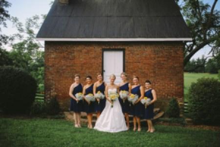 navy one shoulder bridesmaid dresses, Photo by Daring Tales of Darling Bones