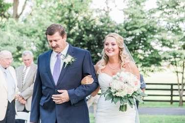Bride & Father of the Bride enter outdoor wedding at Warrenwood Manor