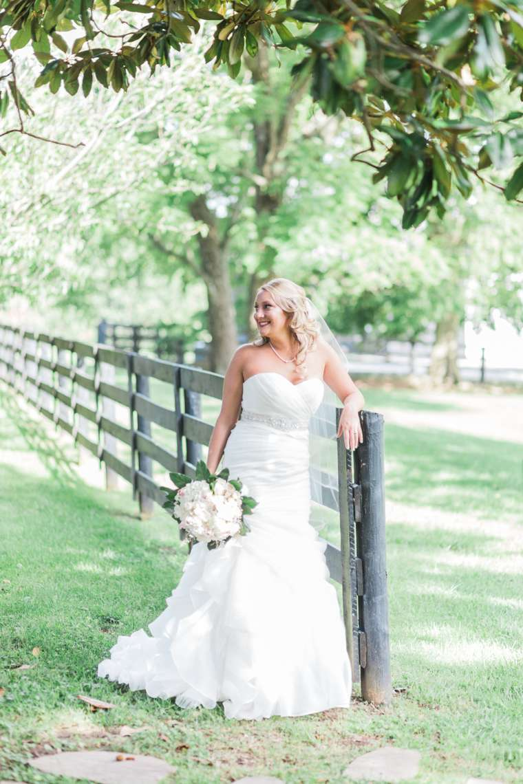 Timeless and traditional bride during Kentucky farm wedding