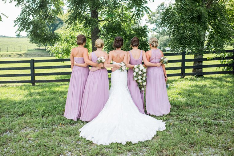 Bridal party dressed in light purple at Kentucky farm wedding