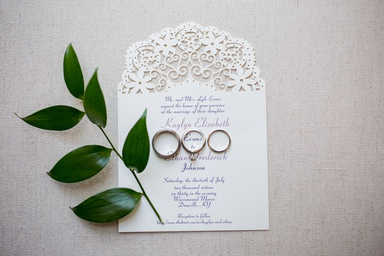 Ivory laser cut wedding invitations