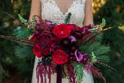 Winter Burgundy Bridal Bouquet by Fields in Bloom, Photo by Keith & Melissa Photography