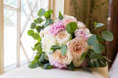 Pink, ivory and blush bridal bouquet with eucalyptus by Fields in Bloom, Photo by Meghan Thomas Photography