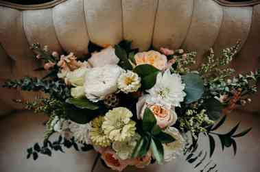 Organic peach, white and soft green bridal bouquet by Fields in Bloom, Photo by Brandi Potter Photography