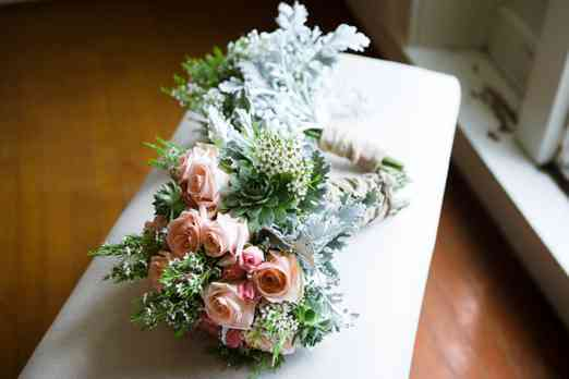 Pink and mixed greenery garden bridal bouquet by Molly's Flowers, Photo by Kristin Vermilya