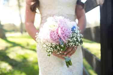 White, pink and blue rustic vintage bridal bouquet, photo by Honey Heart Photography
