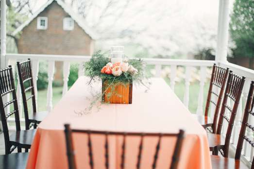 Peach & coral garden roses in wooden box for banquet table centerpiece. Cassie Lopez Photography. Doug Smith Events.
