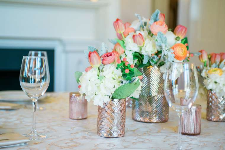 white, rose gold and coral glam floral centerpiece. Keith & Melissa Photography. Stems, LLC.