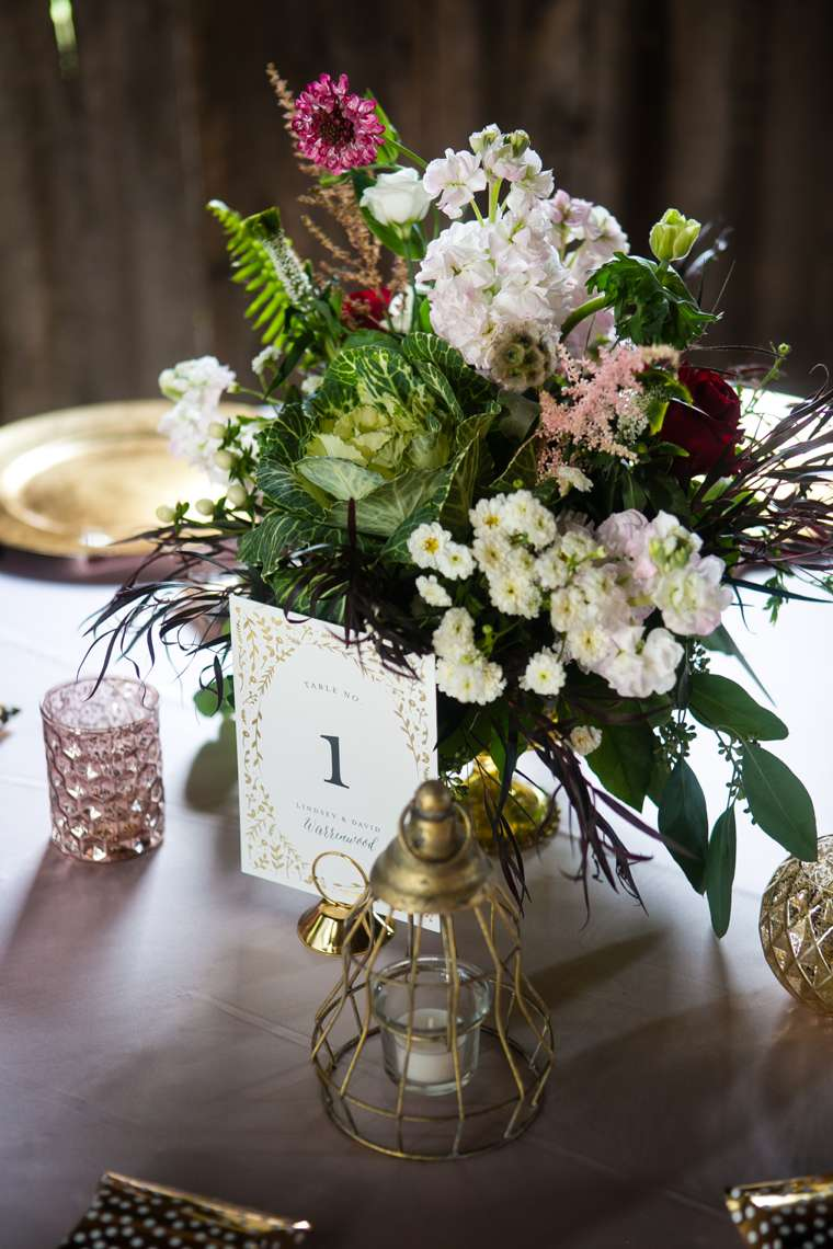 Fall wedding, gold compote centerpiece with white, blush and burgundy. Hilly Photography. Jeanie Gorrell Floral Design