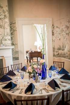 Cobalt tablescape with lots of flowers