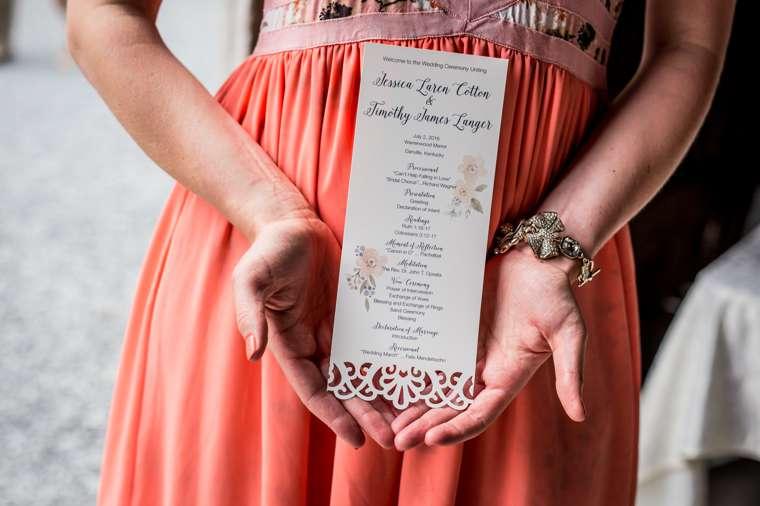 Laser cut ivory wedding ceremony program
