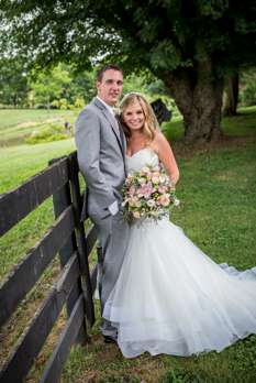 Vibrant summer wedding of blue, white, pink and peach