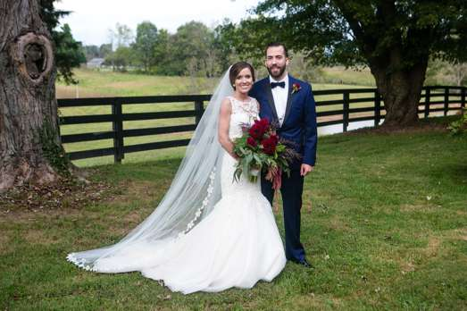Bride & Groom at their classic southern glam wedding in Danville, KY