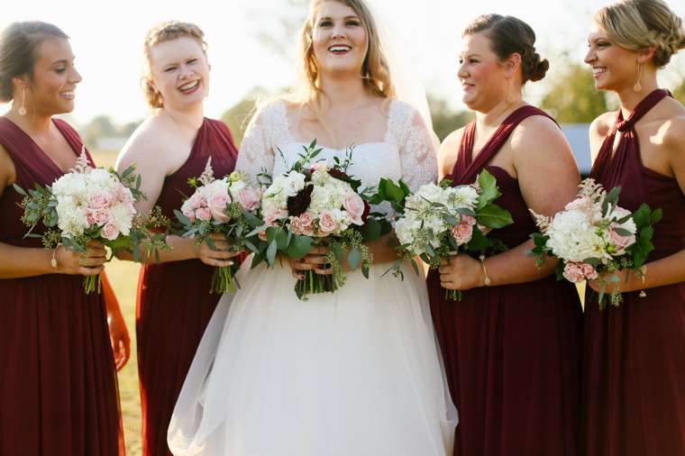 Rustic Elegant Fall Wedding, bridesmaids in bungundy