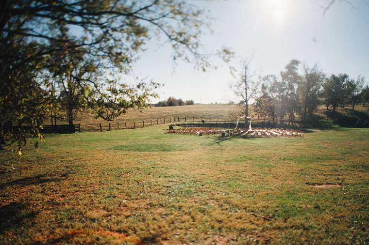 Outdoor fall ceremony on Kentucky farm