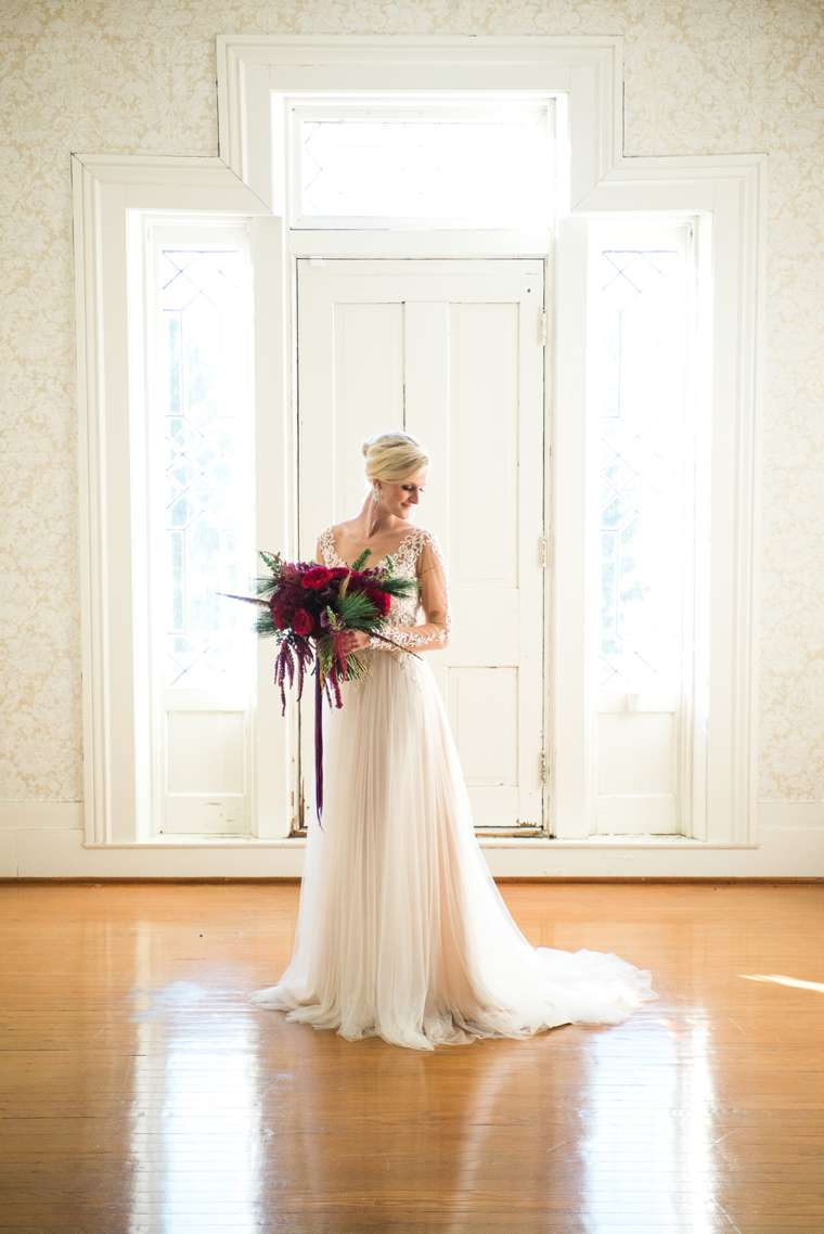 Bridal Portrait with ruby, burgundy and plum bouquet