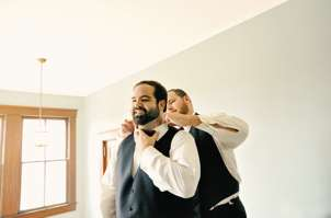 Groom getting ready for wedding at Warrenwood Manor