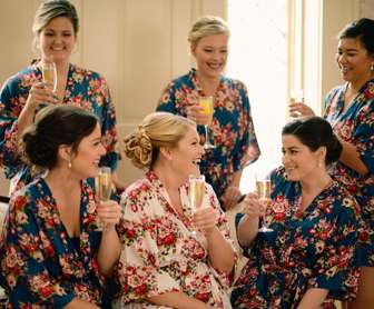 Bride & Bridesmaids in floral print robes