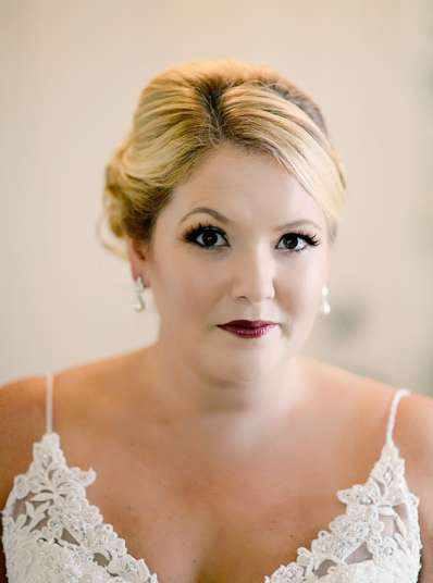 Bridal makeup with bold lip