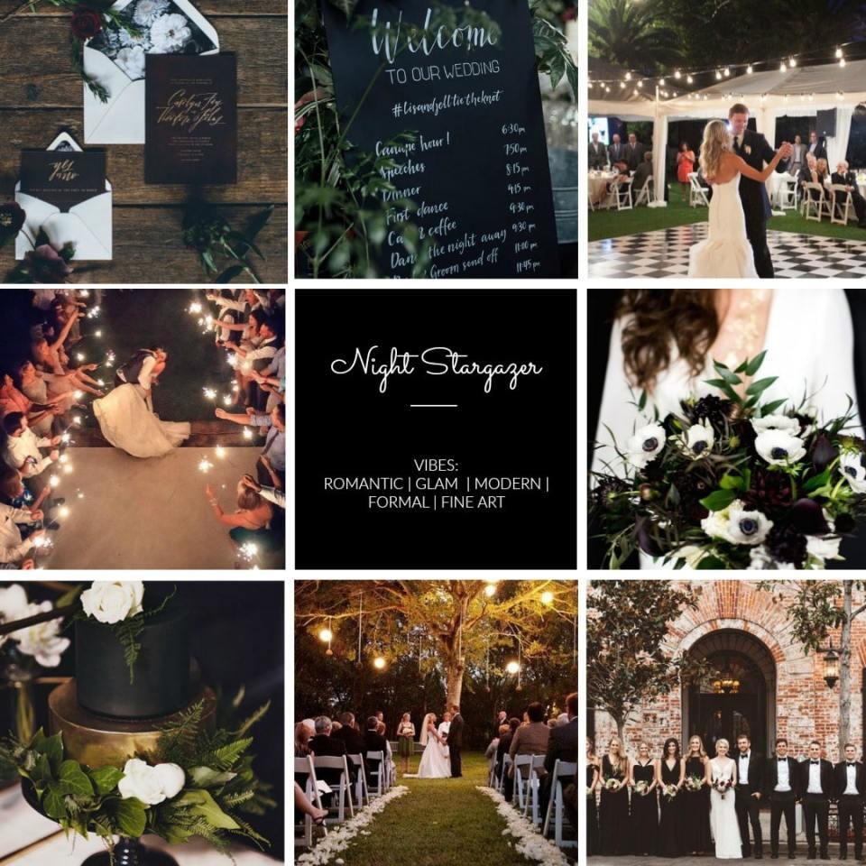 romantic Black and white night wedding