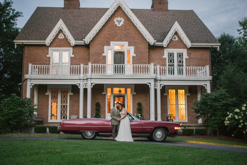Retro old car for boho wedding getaway