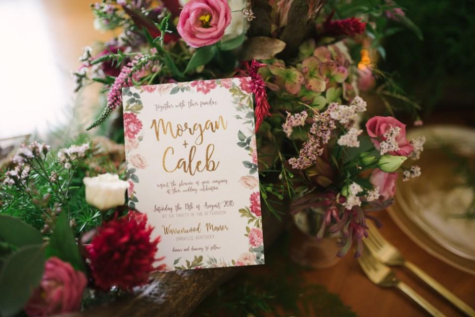 Floral boho wedding invitation by Haley Michelle Designs