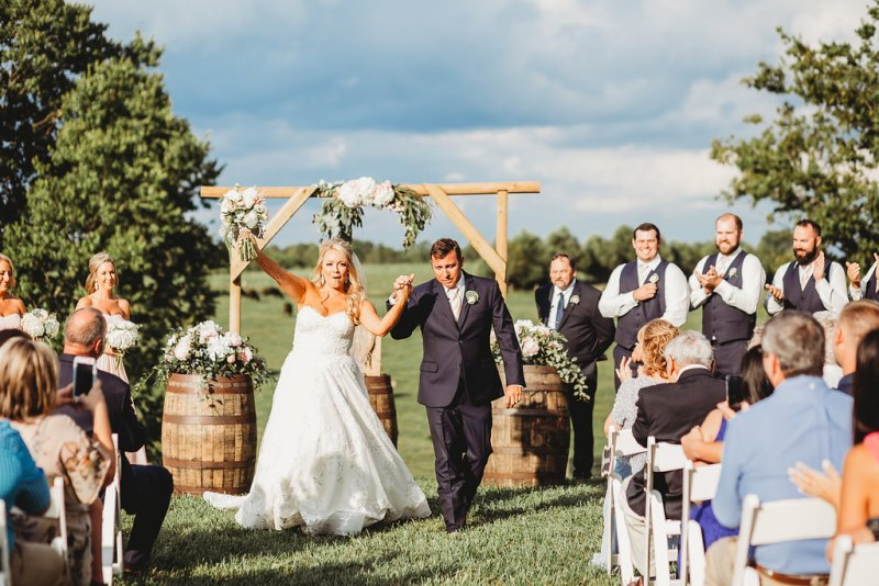 Bride & Groom exit their Kentucky country glam summer wedding ceremony