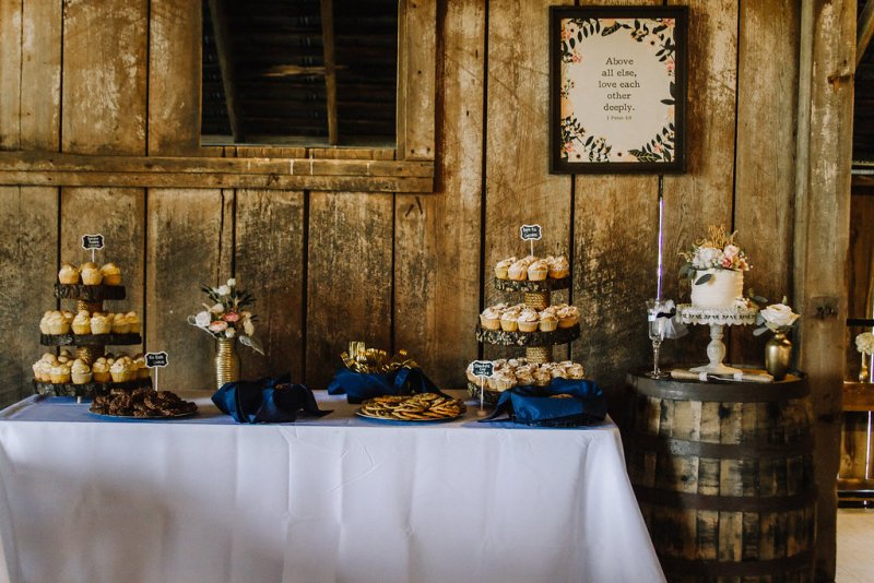 Cake & Cupcakes at rustic glam barn wedding