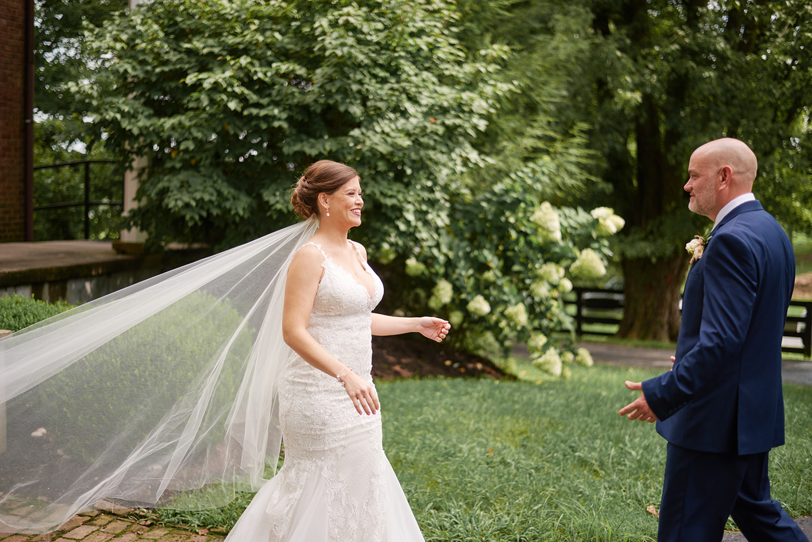 First look with bride & groom at southern glam wedding in Kentucky
