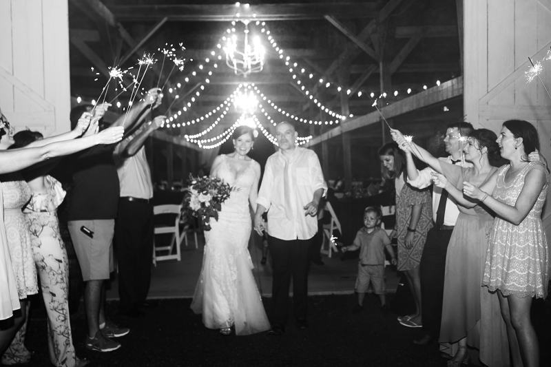 Sparkler sendoff from southern glam wedding reception