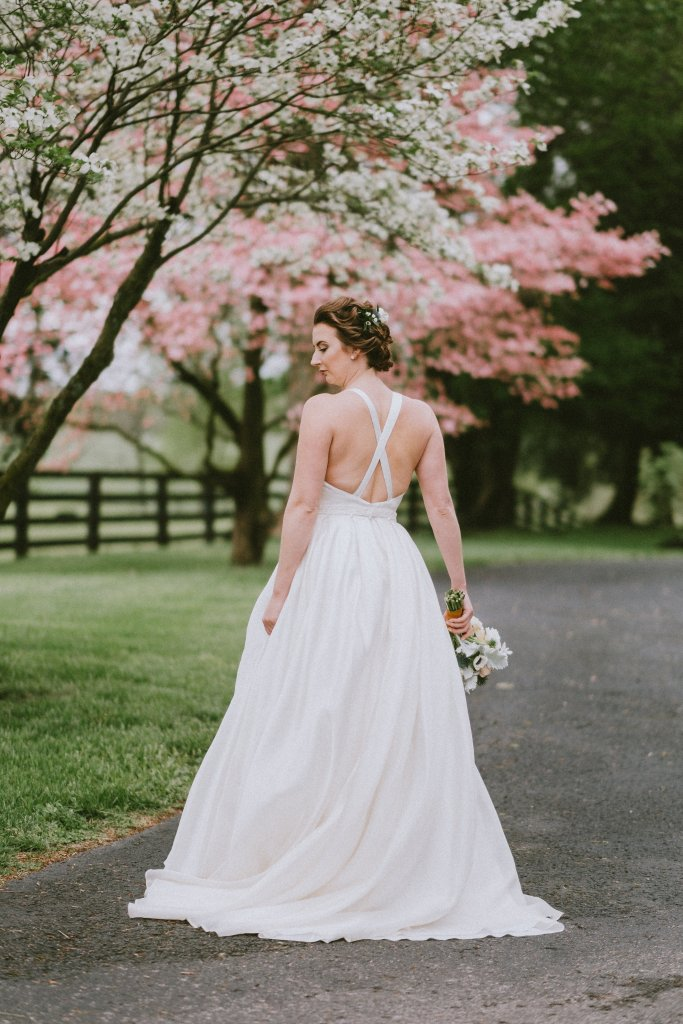x-back dress at Vintage Spring Wedding - Warrenwood Manor -Kentucky Wedding Venue