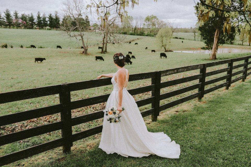 Vintage bride at Vintage Spring Farm Wedding - Warrenwood Manor -Kentucky Wedding Venue