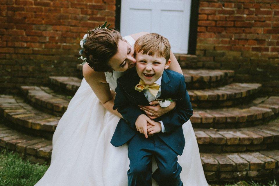 Bride and new step-son at Vintage Spring Wedding - Warrenwood Manor -Kentucky Wedding Venue