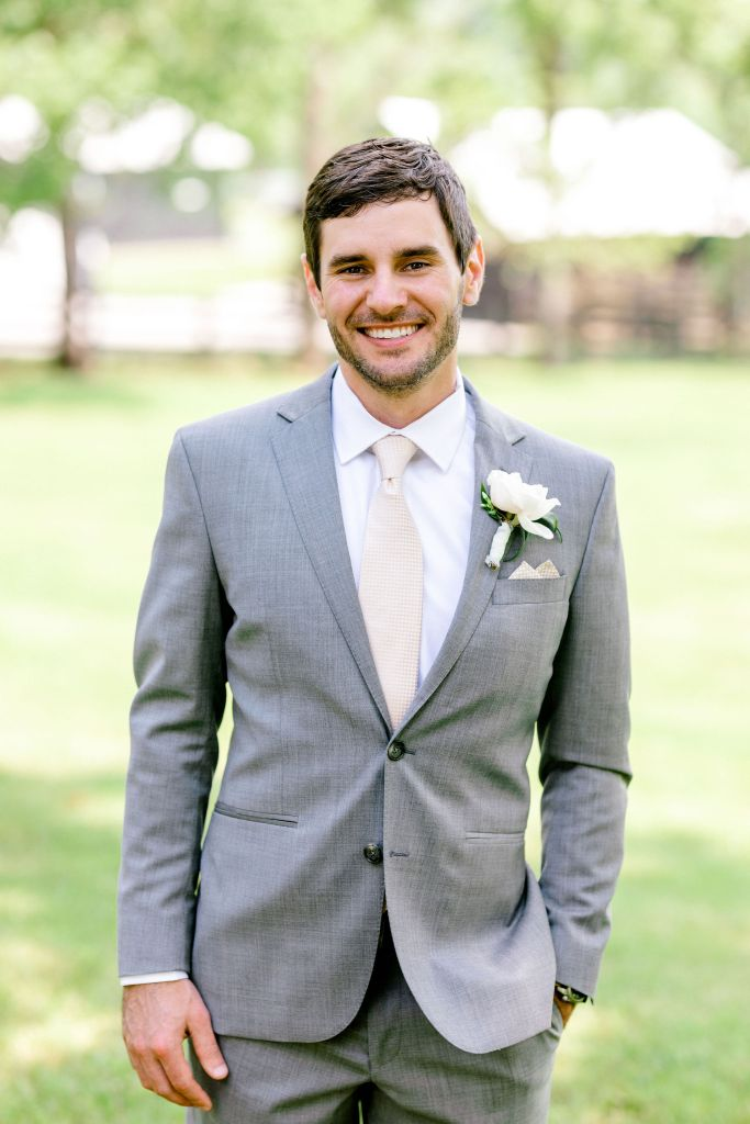Pastel Spring Southern Chic Wedding at Warrenwood Manor - Kentucky Wedding Venue- Groom in Gray suit with pink tie