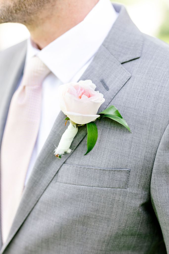 Pastel Spring Southern Chic Wedding at Warrenwood Manor - Kentucky Wedding Venue- Groom in gray suit with pink accents