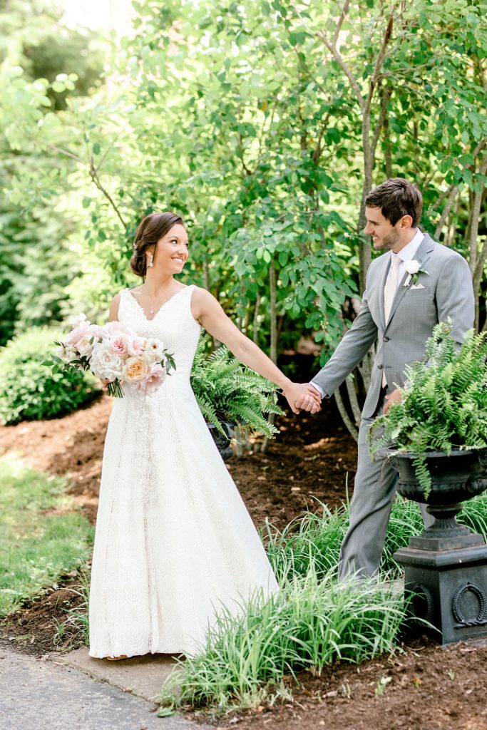 Pastel Spring Southern Chic Wedding at Warrenwood Manor - Kentucky Wedding Venue- Bride & Groom in Garden