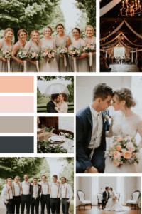 June Wedding at Warrenwood Manor - Simple Elegant Wedding Mood Board with Peach, Pale Pink, Beige & Dark Blue