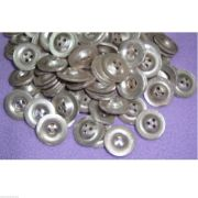 WWII German Zeltbahn 3 Hole Aluminum Dish Buttons - Reproduction x 50 UNITS