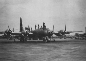 Maintenance men work on a Boeing WB-50 bomber at Burtonwood's Mary Ann site in 1957.