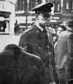 An American serviceman shopping in Warrington
