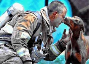 Dog thanks fireman for rescuing her
