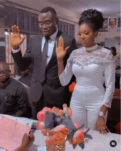 """""""Thanks for choosing me to walk the Journey of life with you"""" – Actress, Biola Adebayo says as she ties the knot with her lover (Videos/Photos)"""