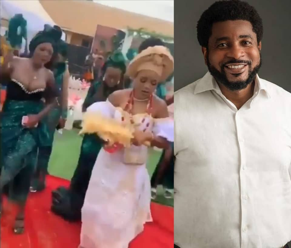 Clergyman, Kingsley Okonkwo, tackles bridesmaid who took center stage at her friend's wedding with her boobs-revealing dress