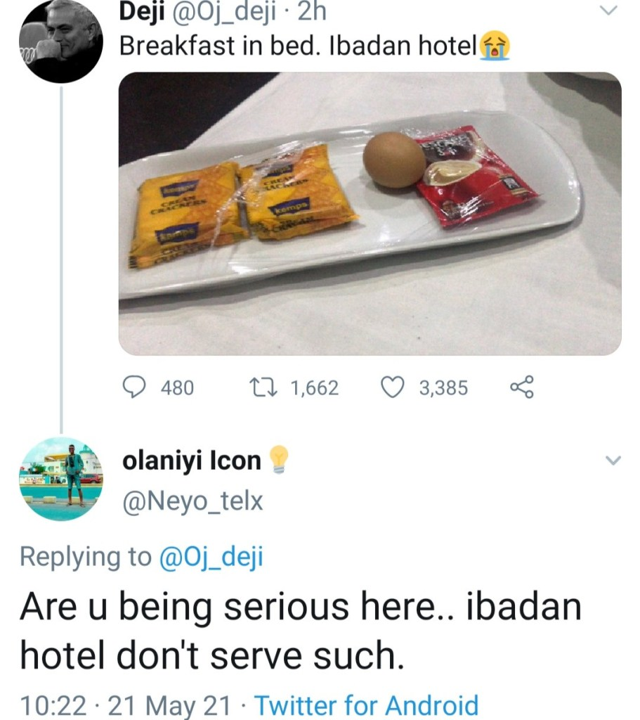 Man shows the breakfast 'he was served in bed in an Ibadan hotel'