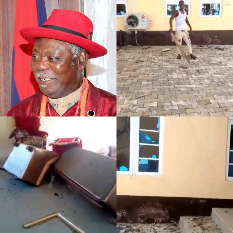 Angry youths destroy Bayelsa monarch's palace (video)