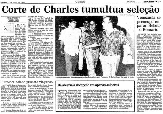O Globo newspaper report on Charles Fabian's omission from the Brazilian team in 1989