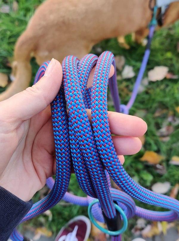 Smycz dla psa linowa kolorowa - niebieska i czerwona